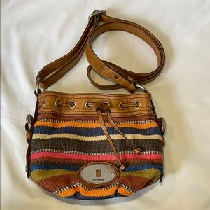 Fossil Leather/ Multi Color Woven Hobo Bag